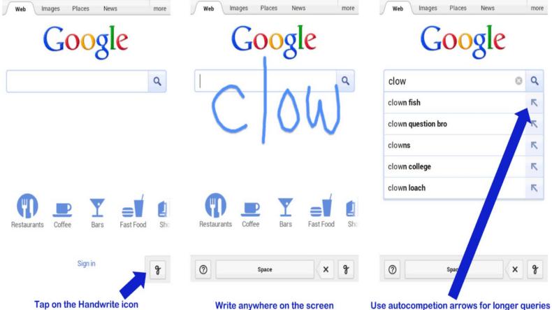 Handschriftliche Suche Im Mobilen Browser Möglich